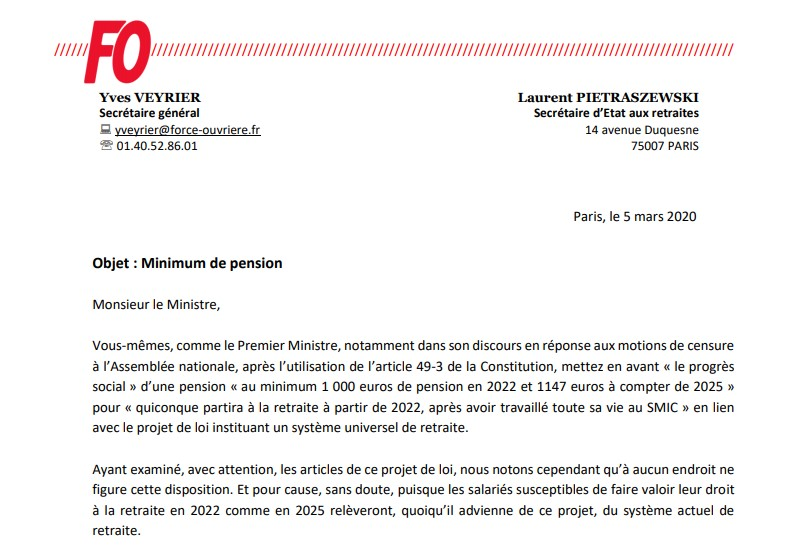 FO interroge le Ministre sur le minimum de pension !!!